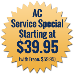 AC Service Special Starting at $39.95 (with Freon: $59.95)